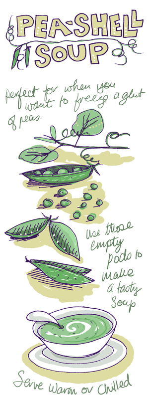 Pea pod soup illustration