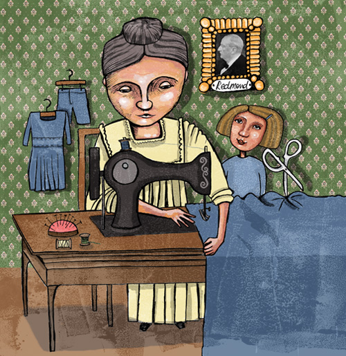 Ellen Cullen sewing