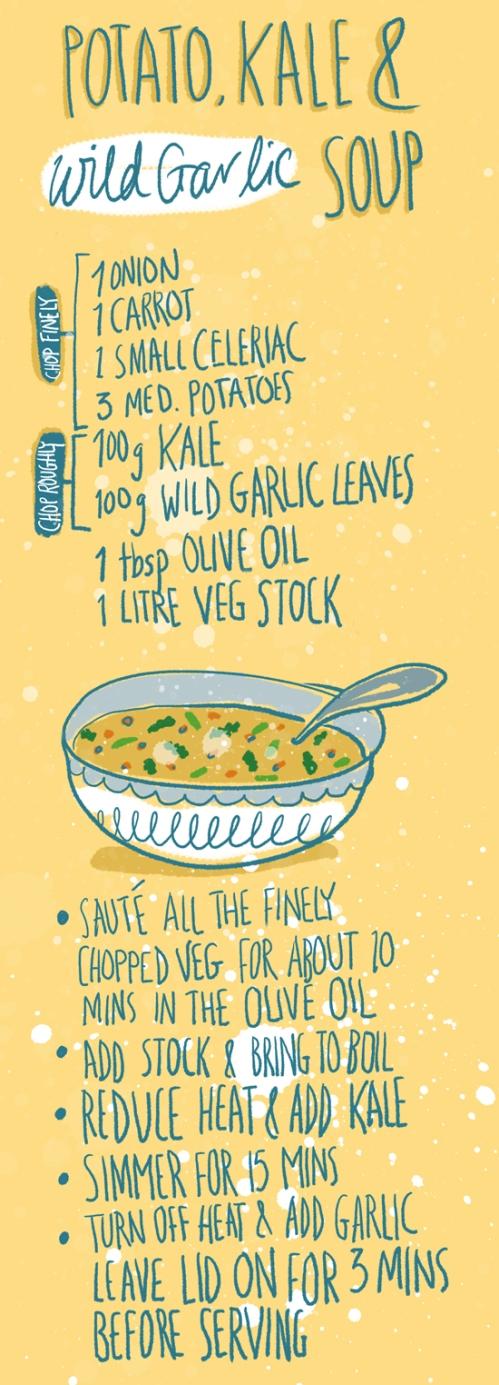 Potato, Kale and Wild garlic soup